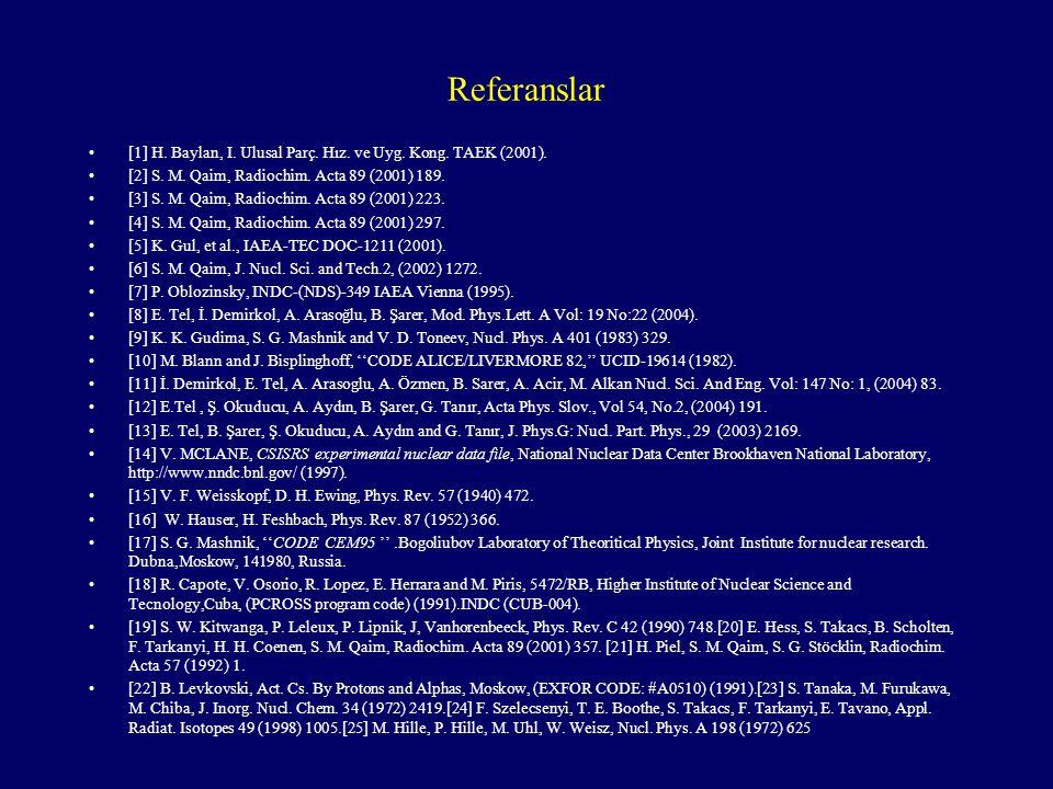 Referanslar [1] H. Baylan, I. Ulusal Parç. Hız. ve Uyg. Kong. TAEK (2001). [2] S. M. Qaim, Radiochim. Acta 89 (2001) 189.